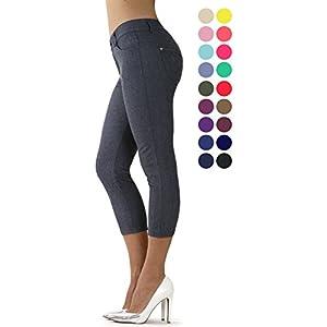 Prolific Health Capri Women's Jean Look Jeggings Tights Slimming Many Colors Spandex Leggings Pants (Medium, Gray)
