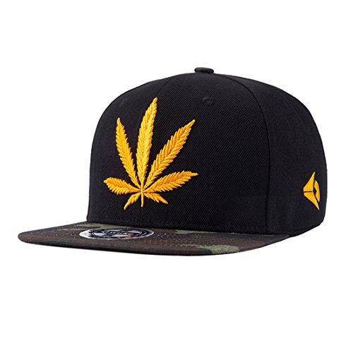King Star Men Women Leaf Weed Snapback Cannabis Embroidered Flat Bill Baseball Cap Hat Gold