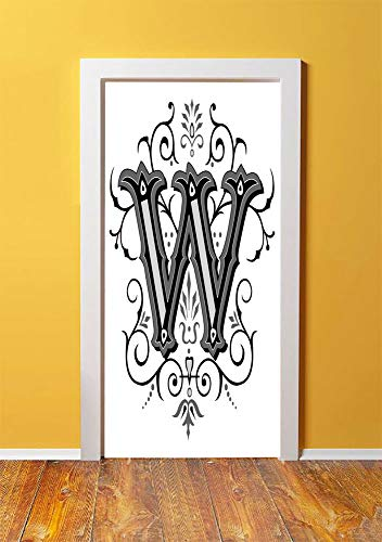 Letter W 3D Door Sticker Wall Decals Mural Wallpaper,Capitalized Letter W with Symmetrical Ornaments Abstract Artwork Lines Dots,DIY Art Home Decor Poster Decoration 30.3x78.9947,Black Grey White ()