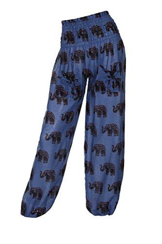 Pantalones hindúes harén con diseño de elefante Azul