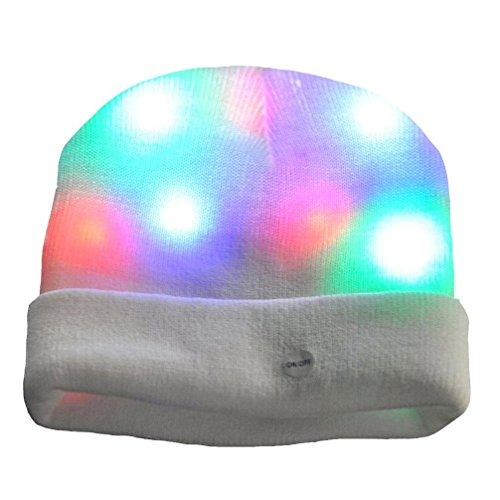 LED Glow Blink Knit Hat - Luwint Lights Up Costume Show Prop Toy for Boys Girls Birthday Party (White)