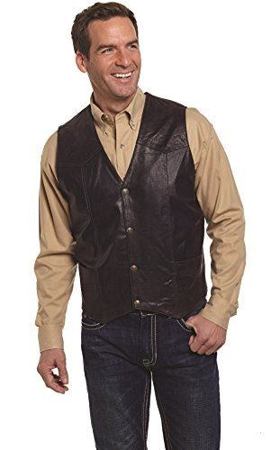 Cripple Creek Mens Antique Chocolate Leather Western Snap Front Vest (Western Leather Clothing)