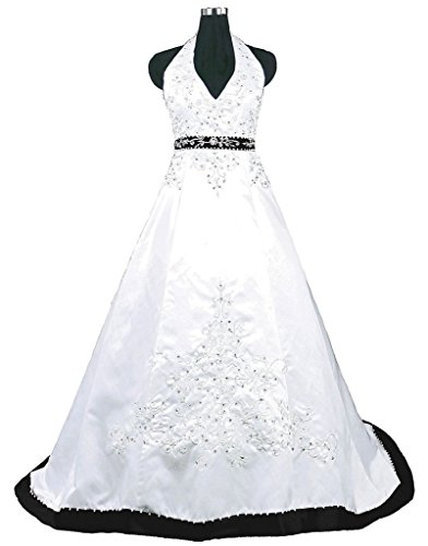 Snowskite Halter Embroidery Satin Wedding Bridal Dress 20 Black&White by Snowskite