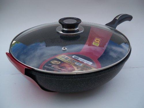 Ceramic Marble Coated Non Stick Cast Aluminium Wok with Lid,