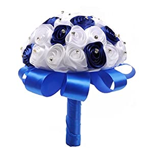 ChainSee 2017 Beautiful Design Crystal Roses Pearl Bridesmaid Wedding Bouquet Bridal Artificial Silk Flowers (Blue) 96
