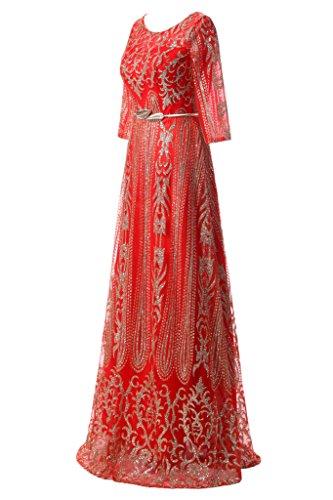 nbsp;Party Prom elegante Donna Rot abito abito a ressing ivyd vestito linea sera giromanica nbsp; lunga Festa Guertel PqzBFan