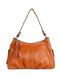 SAIERLONG Women's Tote Single Shoulder Bag Handbag Brown Cow Leather