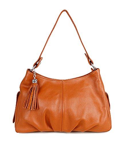 SAIERLONG Women's Tote Single Shoulder Bag Brown Genuine ()