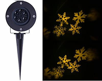 Lightess Christmas Projector Spotlight Moving White Snowflake LED Landscape Projection Lighting Outdoor/Indoor Decor Lamp, Warm White