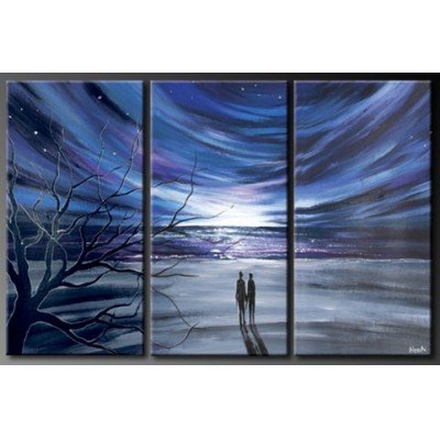 Sangu 100% Hand Painted Wood Framed 3-piece Stary Night For Abstract Oil Paintings Gift Canvas Wall Art Paintings For Living Room.