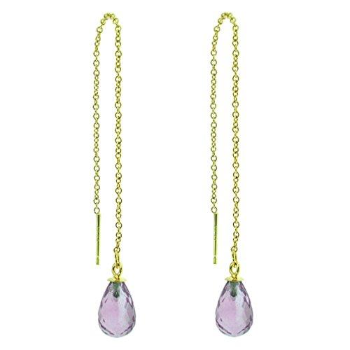 10K Yellow Gold Purple Amethyst Briolette Gemstone Threader Earrings, Birthstone of February (Gold Amethyst Threader Earrings)
