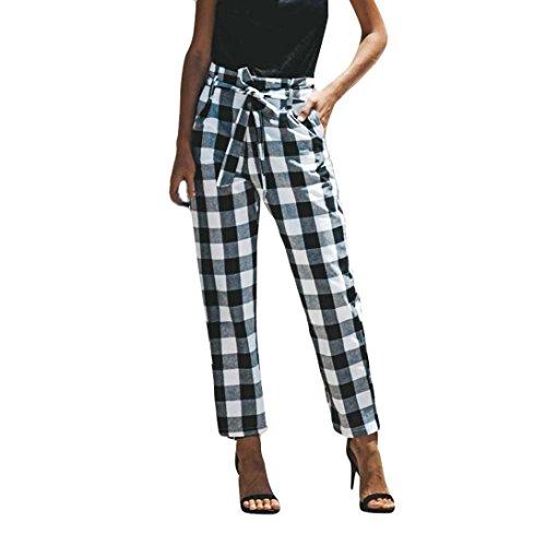 2018 Women's Pants,Sexy High Waist Lattice Casual Trousers with Bow Tie Belt and Pocket by-NEWONESUN Black (Linen Belt Silk)