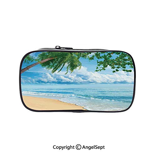 ege School Large Storage,Sandy Tropical Beach in Summertime Sunny Day Seacoast Seascape Horizon Decorative 5.1inches,Box Organizer New Arrival ()