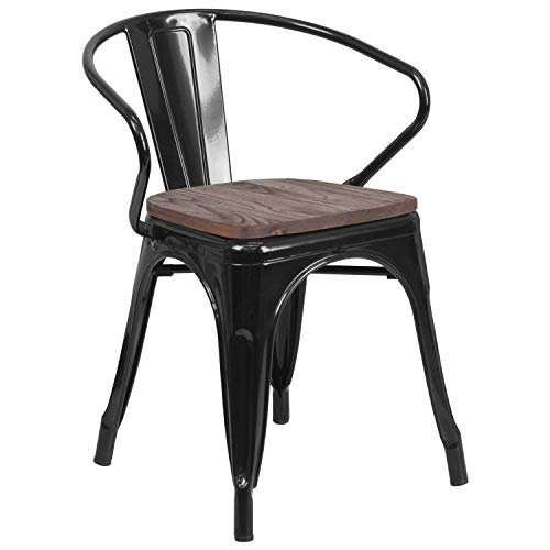 Price comparison product image Flash Furniture CH-31270-BK-WD-GG Metal Colorful Restaurant Chairs,  1 Pack,  Black