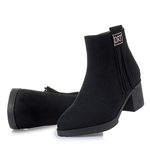 Suede Casual Lining Fur Ankle Black Women's Round Bootie Heel Dethan Tassels Boots Toe Middle Chunky faux 5vHqZpn