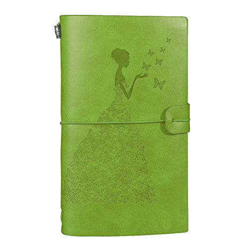 """Butterfly Girl"" Vintage Leather Refillable Journal Travelers Notebook with 18 Card Slots and 1 PVC Zipper Pocket Perfect for Professional Writing Diary Gift for Men Women Girls & Boys ()"