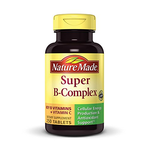 Nature Made Super B Complex + Vitamin C Tablets, 250 Count (Vitamin B-complex Formula)