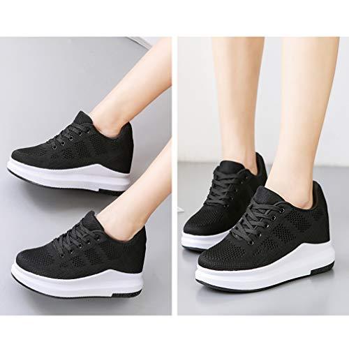 Hishoes Outdoor Piattaforma Sportive Casual 1 Running Sneakers Zeppa Scarpe da Donna Passeggio Tennis Ginnastica Stringate Nero Scarpe Fitness OPOBrq0n