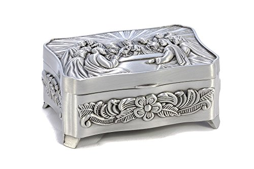Inspire Nation Rosary Trinket Jewelry Box Silver Finish The Last Supper Embossed Lid