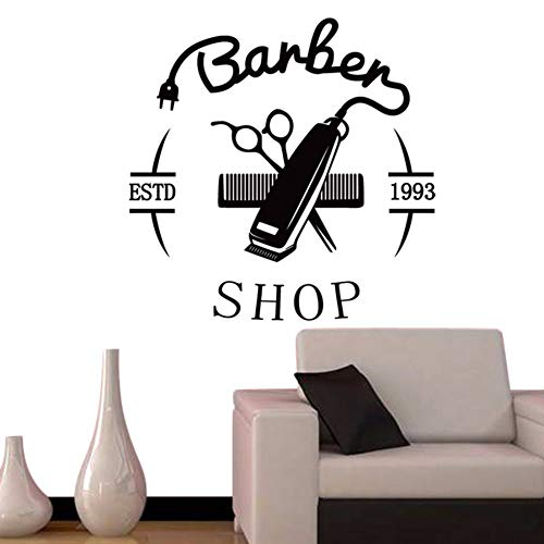 LLHLLH 2019 Man Barber Shop Sticker Chop Bread Decal Haircut Hair Clipper Shavers Poster Vinyl Wall Art Decals Decor Windows 40X40CM