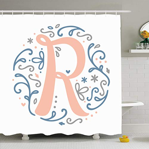 Ahawoso Shower Curtain 60 x 72 Inches Alphabets Feminine Monogram Letter Lovely Abstract Nature Vintage Nouveau Cute Design Waterproof Polyester Fabric Bathroom Set with -