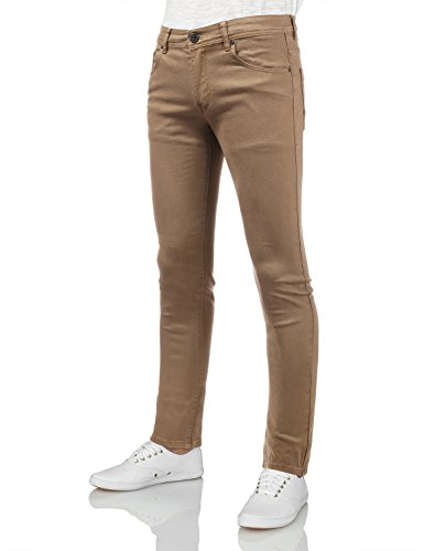 IDARBI Mens Basic Casual Cotton Skinny-Fit Jeans TAN 30/30 by IDARBI