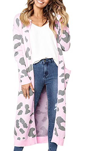 BTFBM Women Long Sleeve Open Front Leopard Knit Long Cardigan Casual Print Knitted Maxi Sweater Coat Outwear with Pockets (Pink, X-Large)