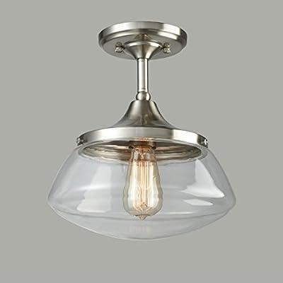 CLAXY Ecopower Vintage Brushed Nickel Glass Ceiling Light 1-Light Pendant Lighting