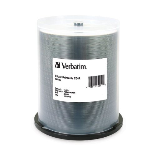 Verbatim 700 MB 52x 80 Minute White Inkjet Printable Recordable Disc CD-R, 100-Disc Spindle  95251