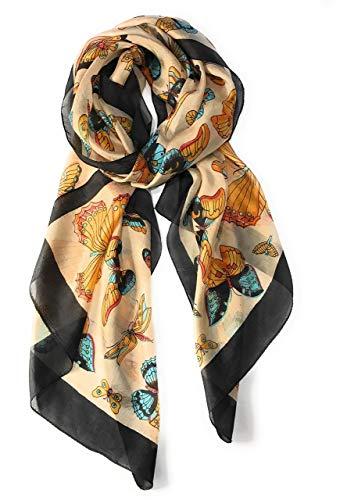 - Z&HTrends Womens Genuine Silk Scarf (Small, Black/Earth Butterflies)