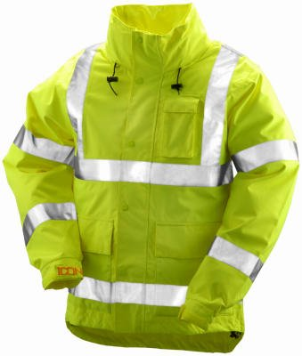 ICON J24122.2X Breathable 300D Polyurethane Hi-Vis Jacket with Reflective Tape, Size 2X, Flourescent Yellow/Green