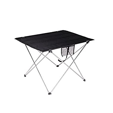 FiveJoy Roll Up Folding Camp Table with Carrying Case - Aluminum Frame Nylon Top - Easy Setup - Light, Compact, Portable, Ideal for Beach, Picnic, Fishing, Camping, Sports, Concerts, Events