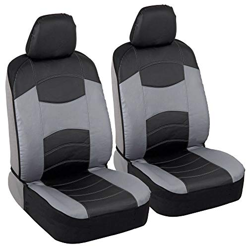 (BDK Vegan Leather Sideless Car Seat Covers - Synthetic Leather Automotive Interior Protection Black/Light Gray - Front Seat Covers - Airbag Compatible - 3-Step Installation - (2PC) (Gray))