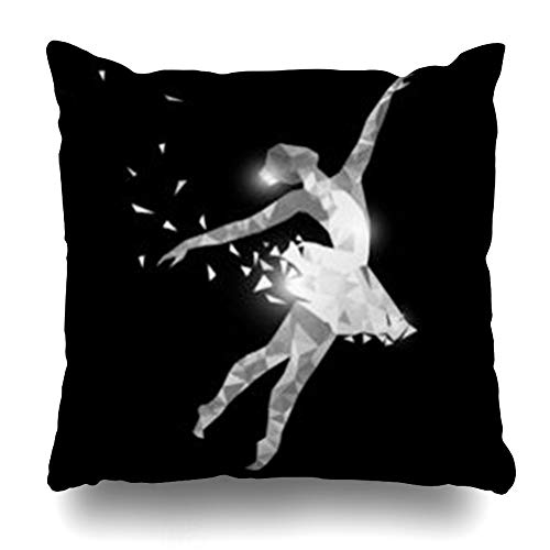 Pillow Throw Training (YeaSHARK Throw Pillow Covers Training Dancing Girl Particle Ballerina for Ballet School Dance Studio Low Poly Black White Dress Zippered Design Square 18