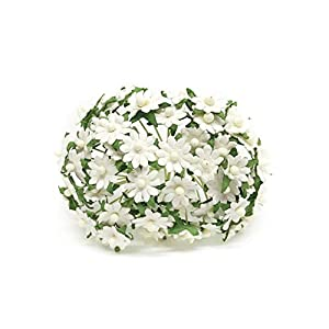1cm White Paper Daisies, Mulberry Paper Flowers, Miniature Flowers For Crafts, Mulberry Paper Daisy, Paper Flower, Artificial Flowers, 50 Pieces 98