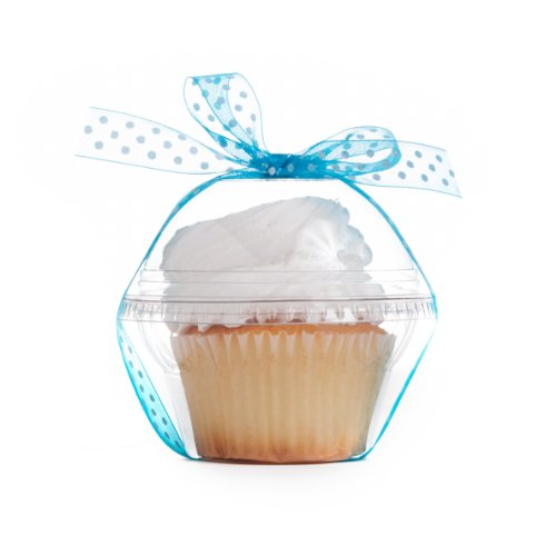 (Dress My Cupcake Favor Dome Containers with Organza Polka Dot Ribbon DIY Kit, Turquoise, Set of 25)