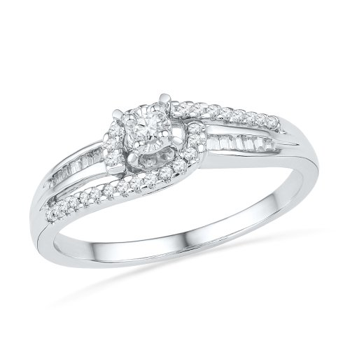 Sterling Silver Baguette and Round Diamond Promise Ring (1/5 (Round Promise Ring)