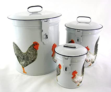 French Country Canister Set ~ Kitchen Storage Canisters ~ Decorative  Containers E4 ~ White Retro Enamel
