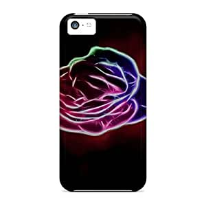 For Iphone 5c Tpu Phone Case Cover(neon Rose)