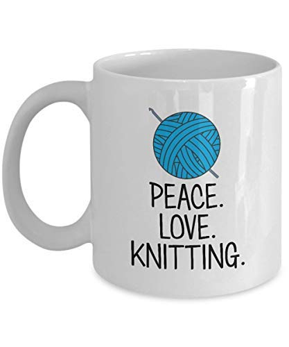 Knitting Coffee Mug Peace Love Knitting Crochet Coffee Cup Gift for Crocheter or Knitter Birthday Present for My Wife Mom Grandma Grandmother Ceramic Mug ()