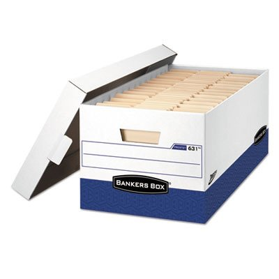 PRESTO Heavy-Duty Storage Boxes, Instant Assembly, Lift-Off Lid, Letter, Case of 12 () - Bankers Box 0063101