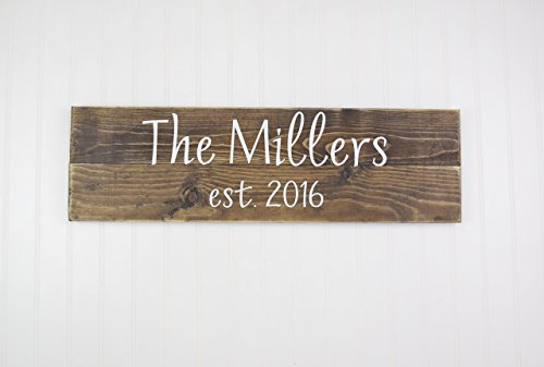 Personalized Family Name Sign Personalized Wedding Gifts Wall Art Rustic Home Decor (Country Life Black Walnut)