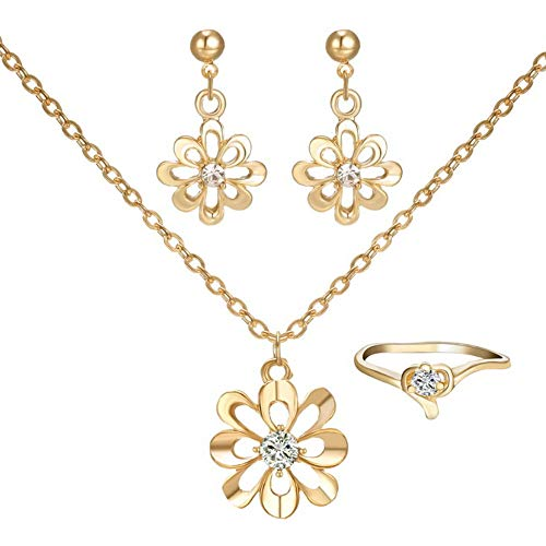 Sinfu Necklace for 1 Set Flower Pendant Necklace Ear Studs Ring Suit Chain Jewelry Ornaments (Adjustable, Gold) ()