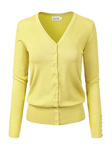 Instar Mode Women's Classic Button Down Long Sleeve V-Neck Soft Knit Sweater Cardigan, Icaw007 Lemon Yellow, X-Large
