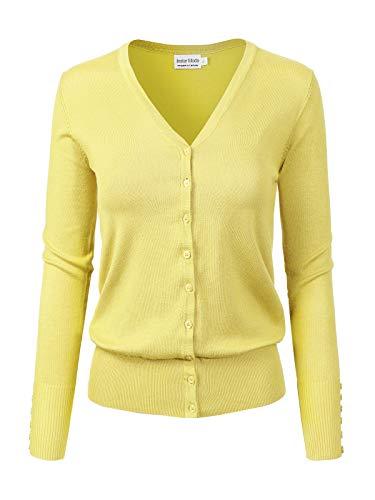 Instar Mode Women's Classic Button Down Long Sleeve V-Neck Soft Knit Sweater Cardigan, Icaw007 Lemon Yellow, - Long Sleeve Nylon Blouse