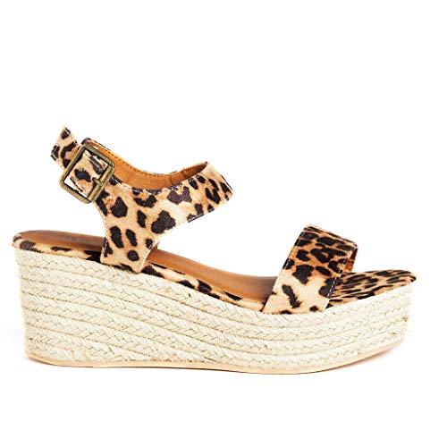 (SODA Women's Open Toe Ankle Strap Espadrille Sandal (6.5, Tan Leopard))