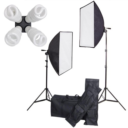 "AW Video Continuous Lighting Kit Photography 20x28"" Softbox 7ft Light Stand 1600W 8 Bulbs Photo Studio"