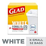 Glad White Garbage Bags - X-Small 15 Litres - Febreze Fresh Clean Scent, 52 Trash Bags
