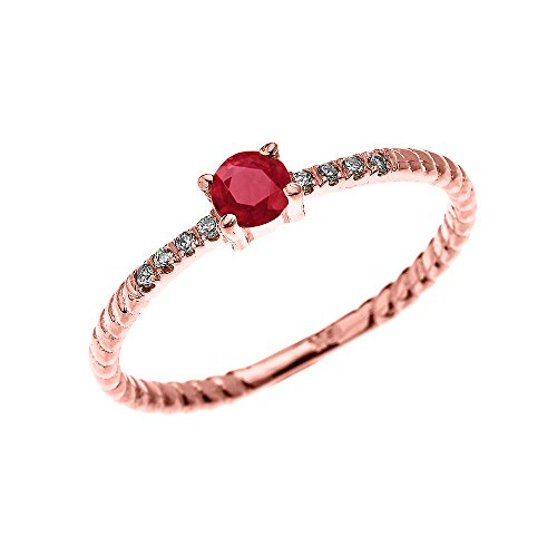 10k Rose Gold Dainty Solitaire Ruby and Diamond Rope Design Engagement/Proposal/Stackable Ring(Size 8) by Dainty and Elegant Gold Rings