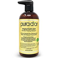 PURA D'OR Original Gold Label Anti-Hair Thinning Shampoo is formulated with 17 Top Rated Key Active Ingredients that promote stronger, cleaner, healthier hair. Hand selected botanical ingredients, such as Argan Oil, Red Korean Seaweed, Saw Pa...